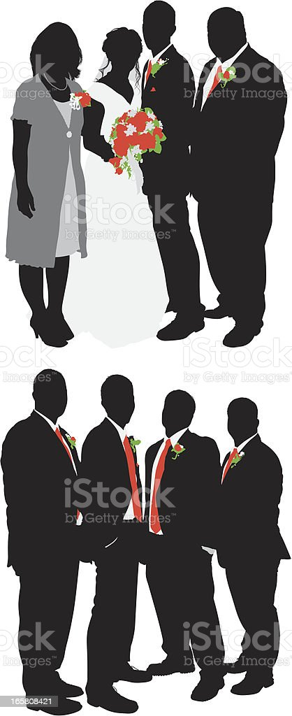 Newlywed couple with guests vector art illustration