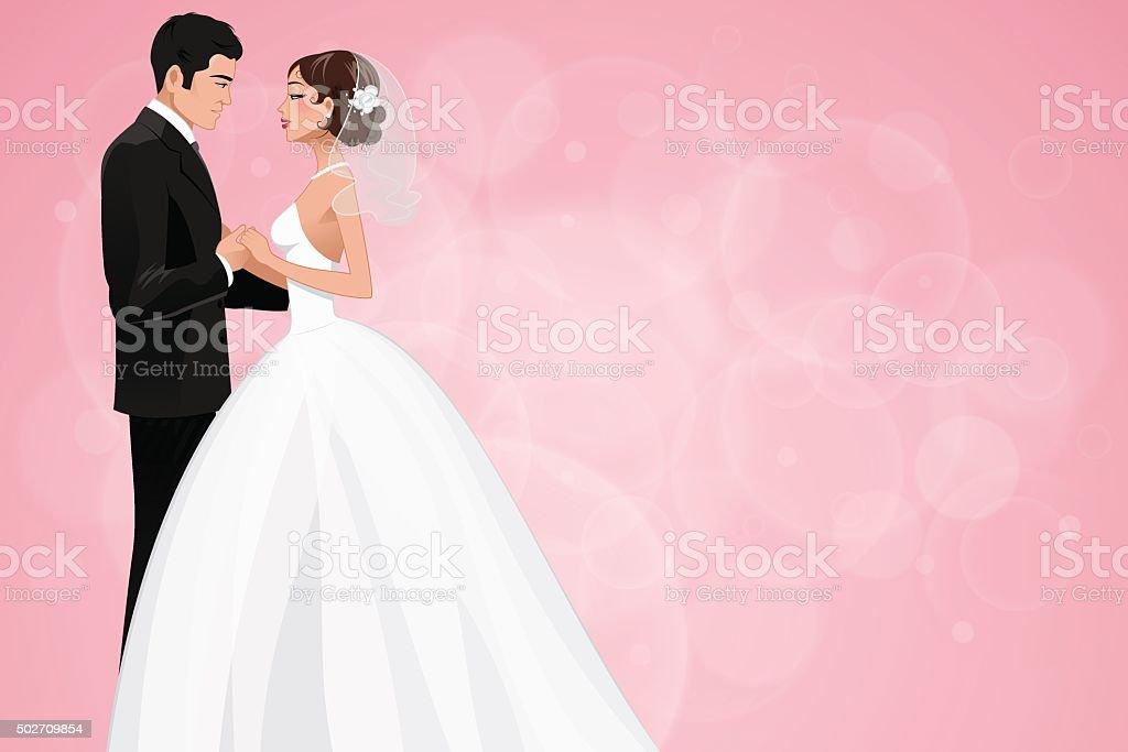 Newlyweds vector art illustration