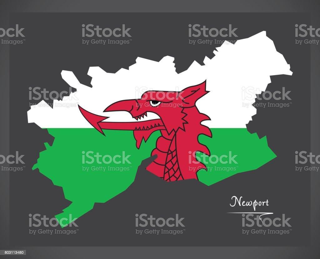 Newport Wales map with Welsh national flag illustration vector art illustration