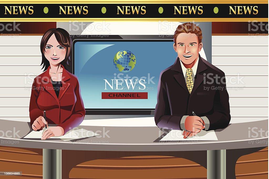 TV news anchors vector art illustration