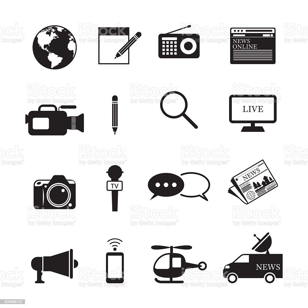 News and Journalism Mono Icons Set vector art illustration