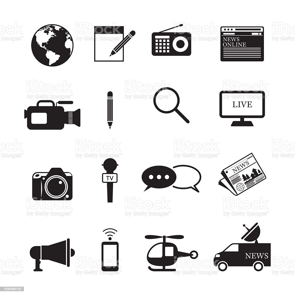 News and Journalism Mono Icons Set vector art illustration