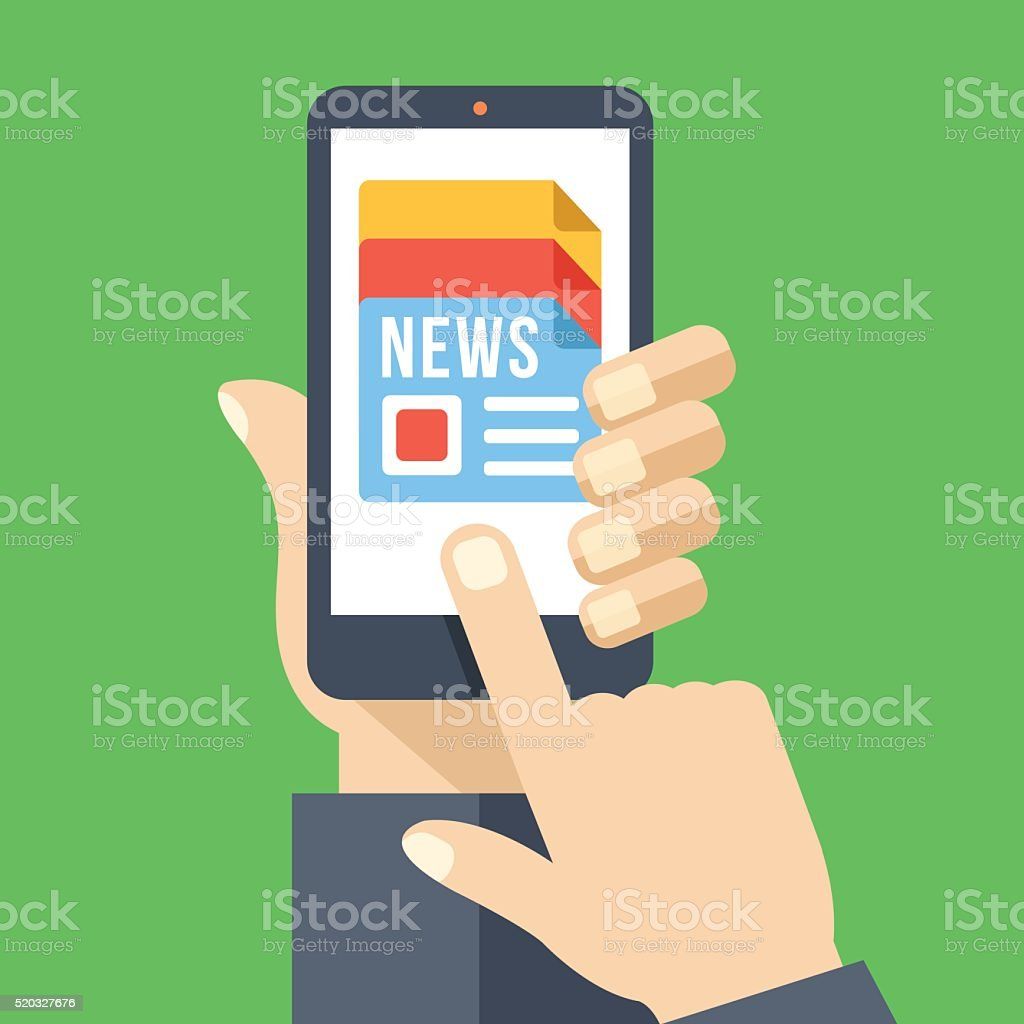 News app on smartphone screen. Mass media. Flat vector illustration vector art illustration