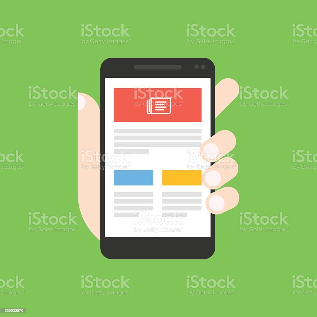 News app on smartphone vector art illustration