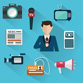 News cast journalism television radio press conference concept