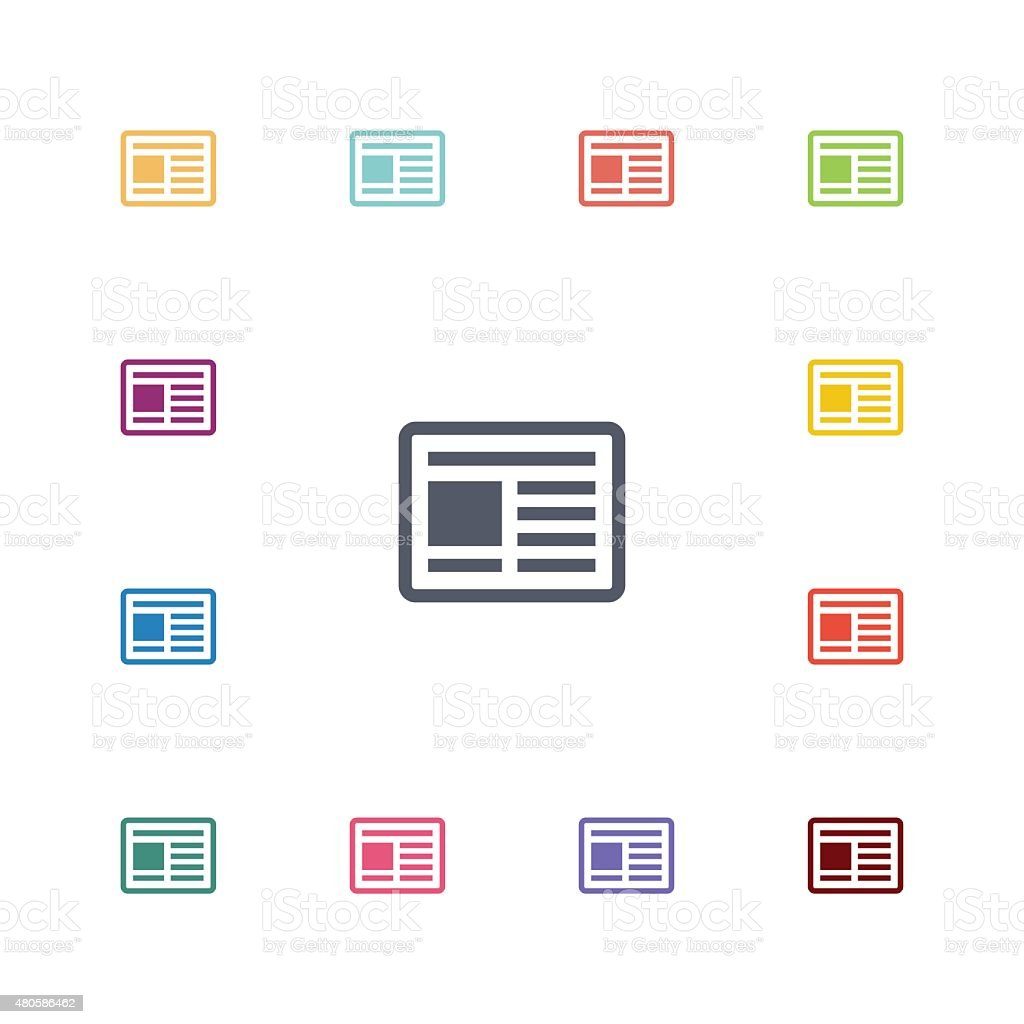 news flat icons set vector art illustration