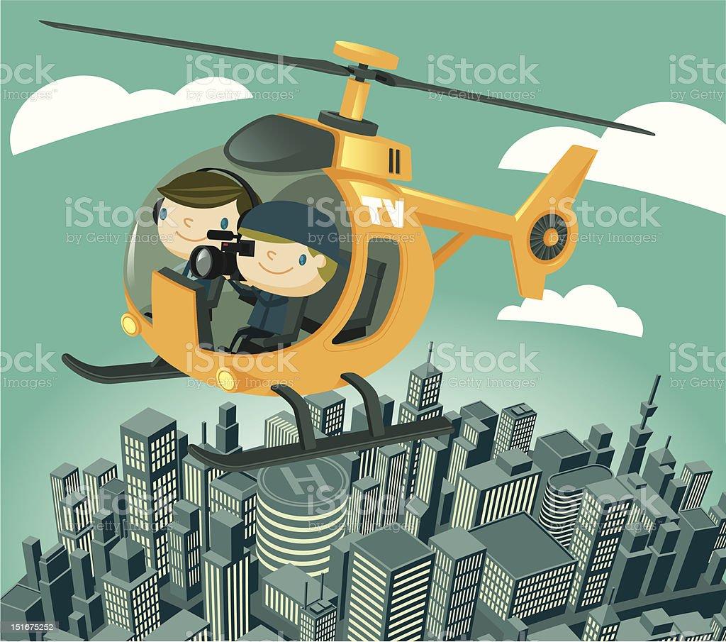 TV News Helicopter vector art illustration