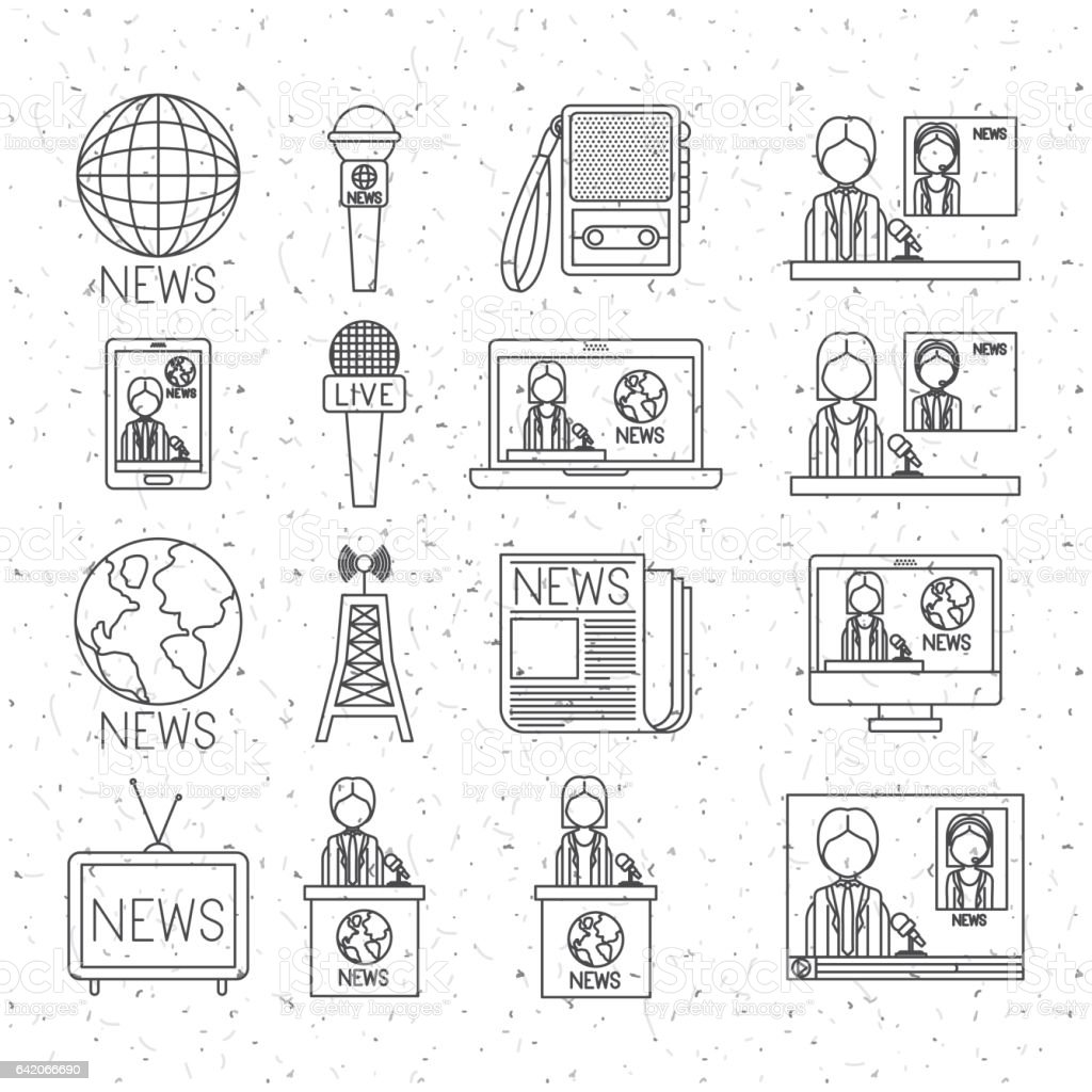 News icon set and media design vector art illustration