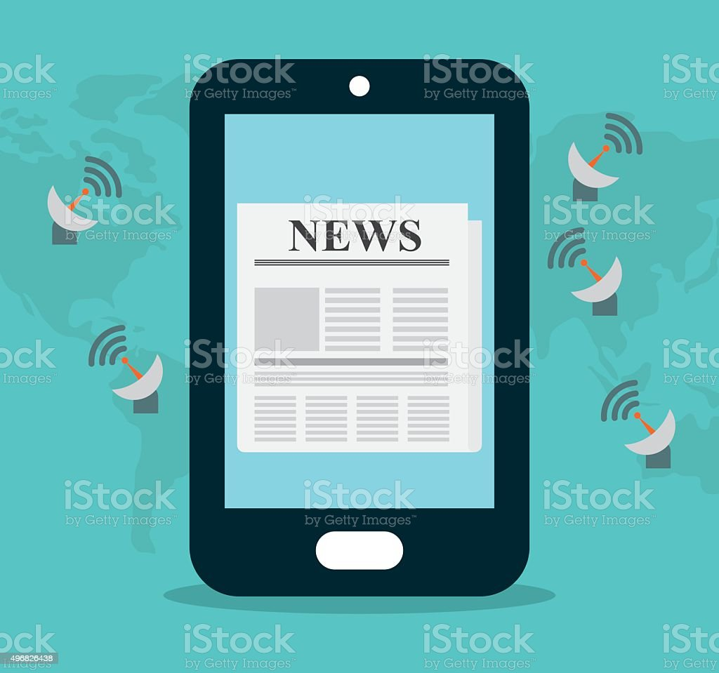 News media and broadcasting vector art illustration