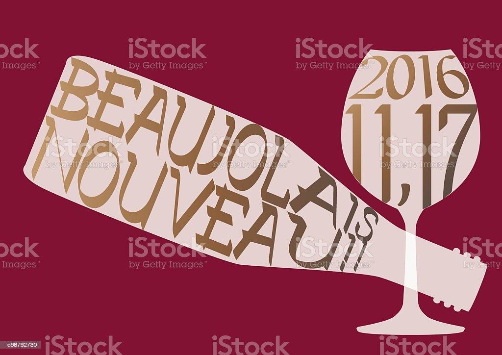 News of Beaujolais Nouveau in 2016 vector art illustration