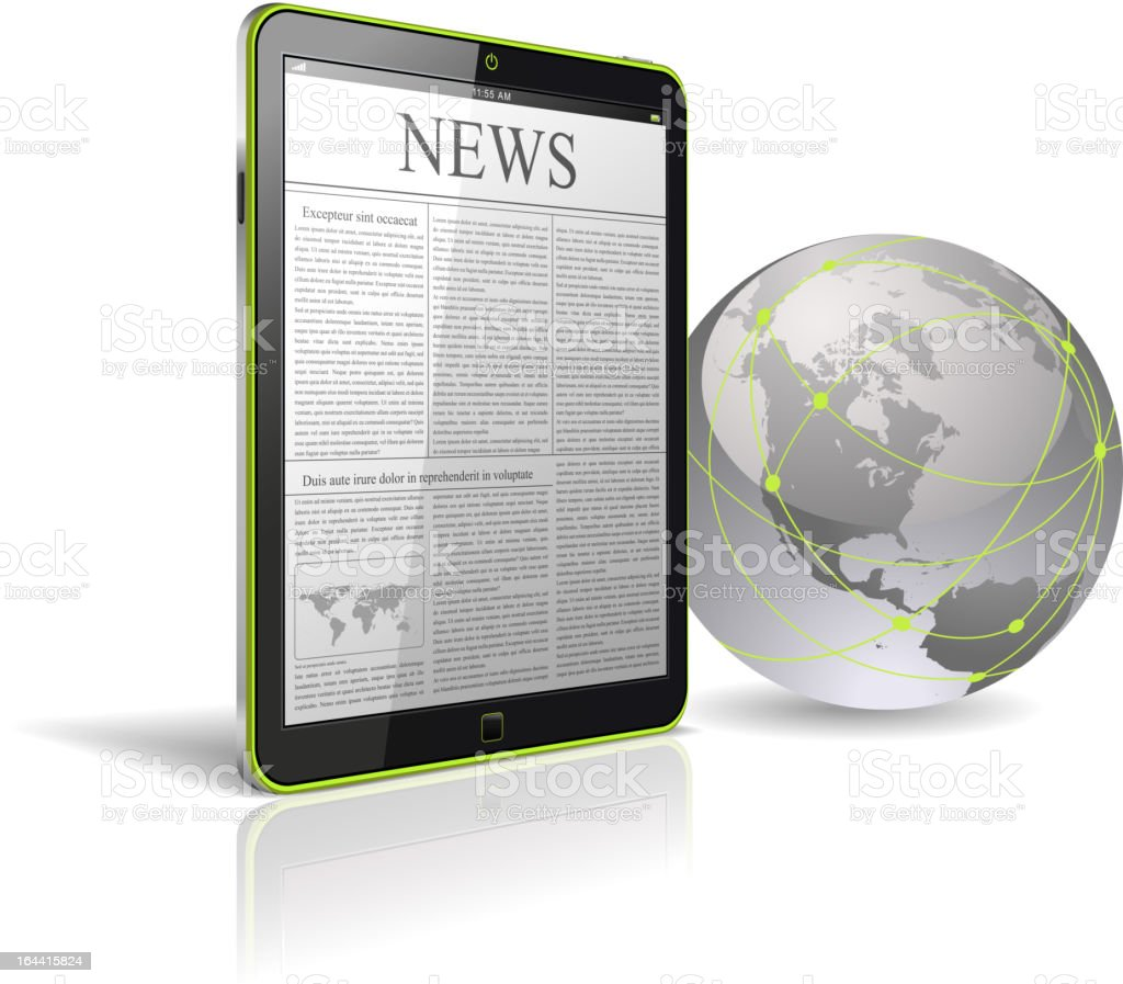 News on Tablet PC. royalty-free stock vector art