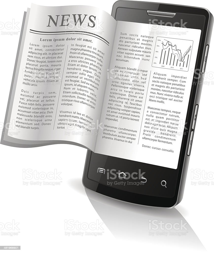 News on your Smart Phone royalty-free stock vector art