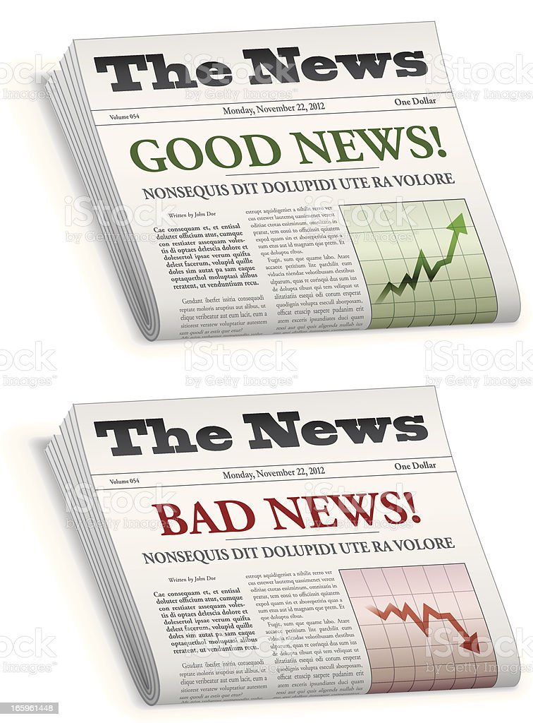News paper saying good news and bad news royalty-free stock vector art