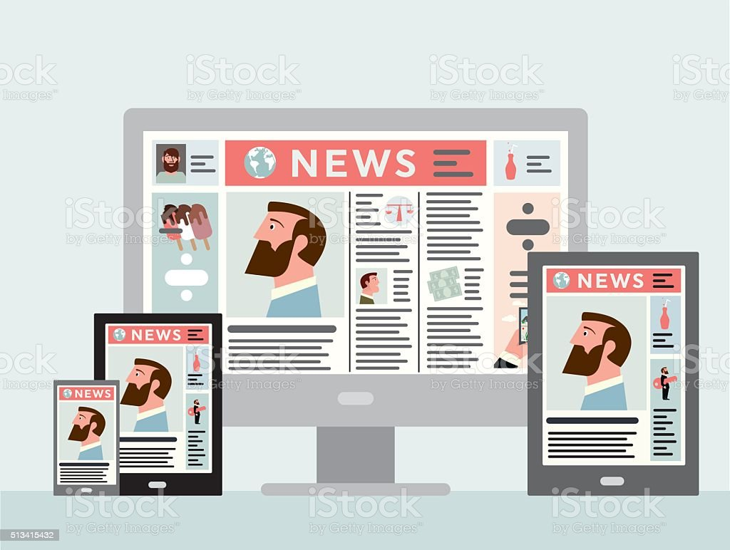 News platforms vector art illustration