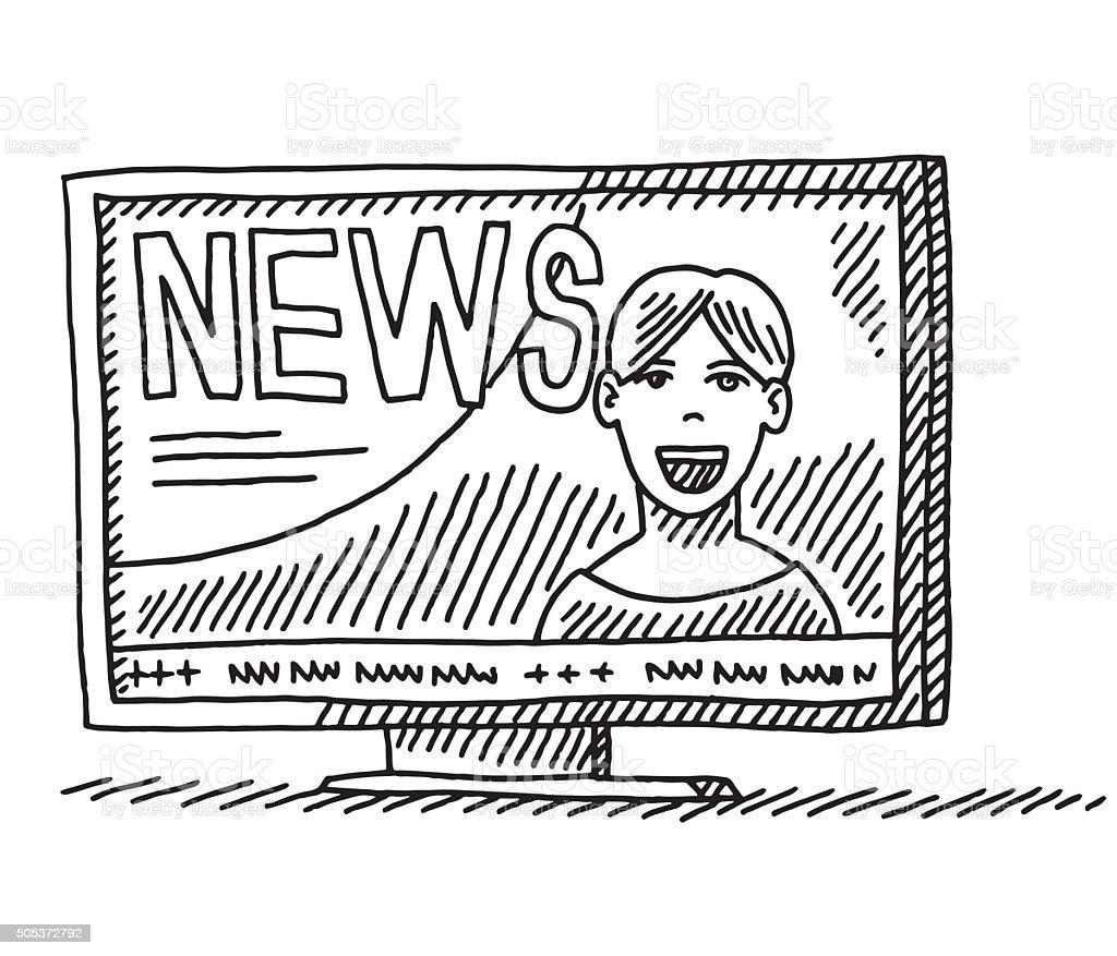 News Presenter On TV Drawing vector art illustration