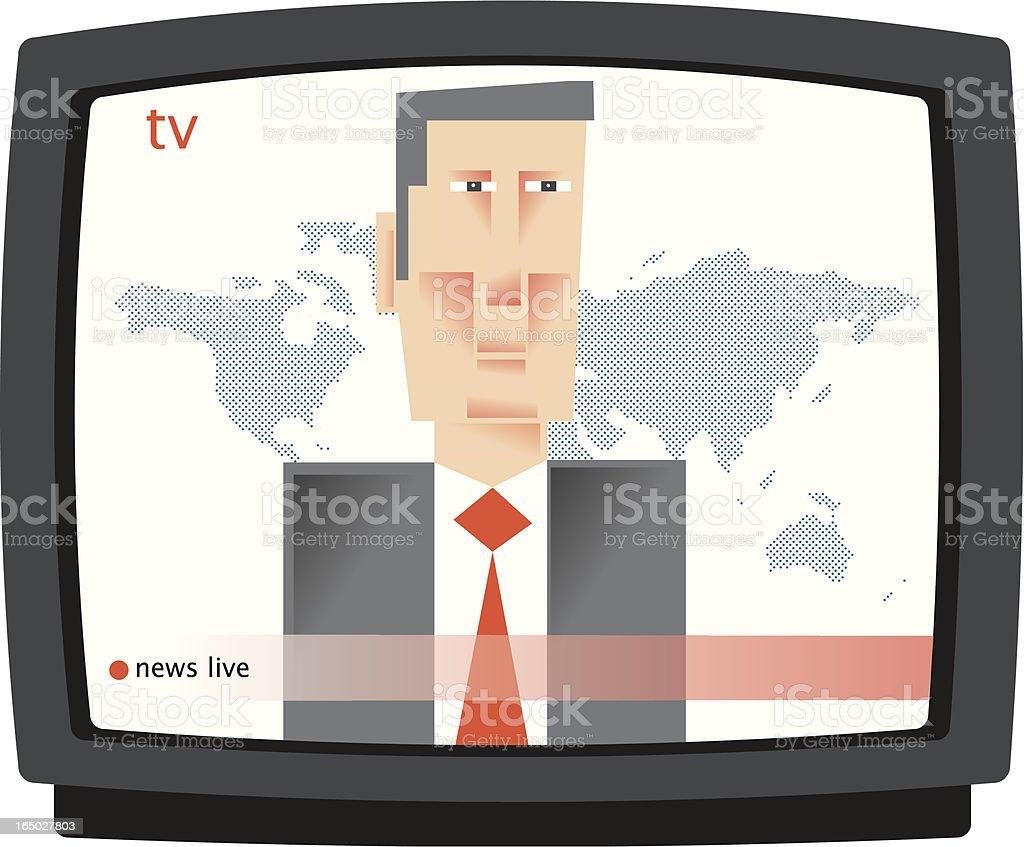 TV News reader vector art illustration