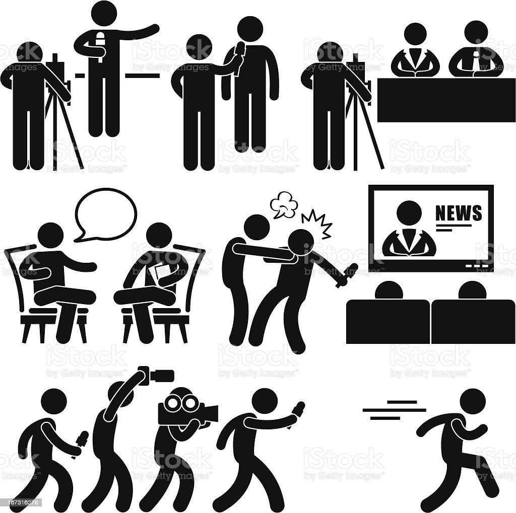 News Reporter Anchor Woman Newsroom Pictogram vector art illustration