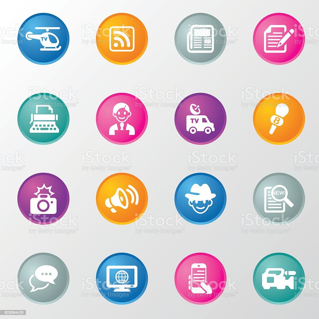 News Reporter Circle Color Icons vector art illustration