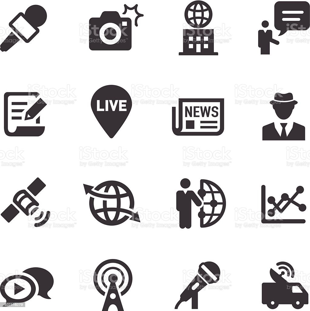 News Reporter Icons - Acme Series vector art illustration