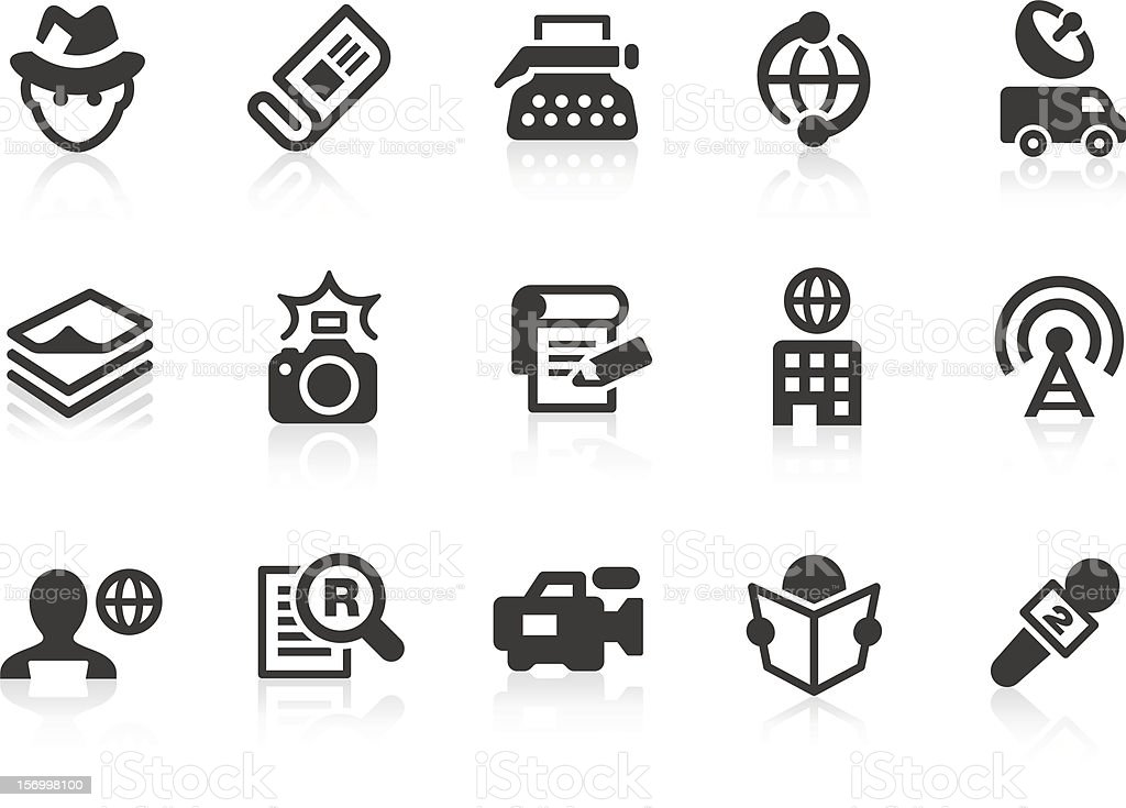 News reporter icons for design and application royalty-free stock vector art