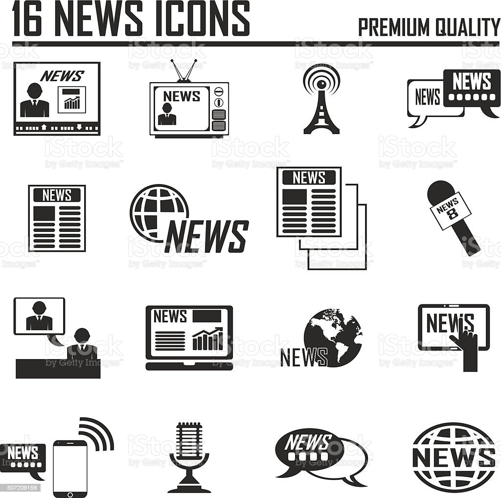 News reporter icons set. vector art illustration