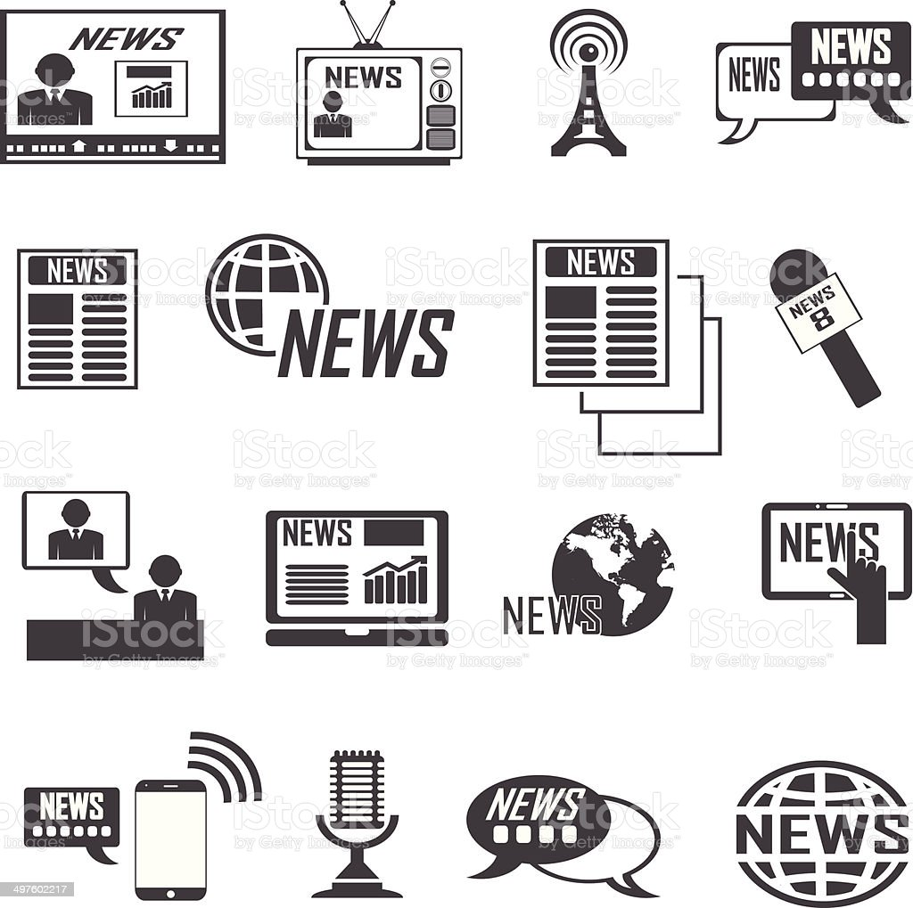 News reporter icons set. vector  illustrations EPS10 vector art illustration