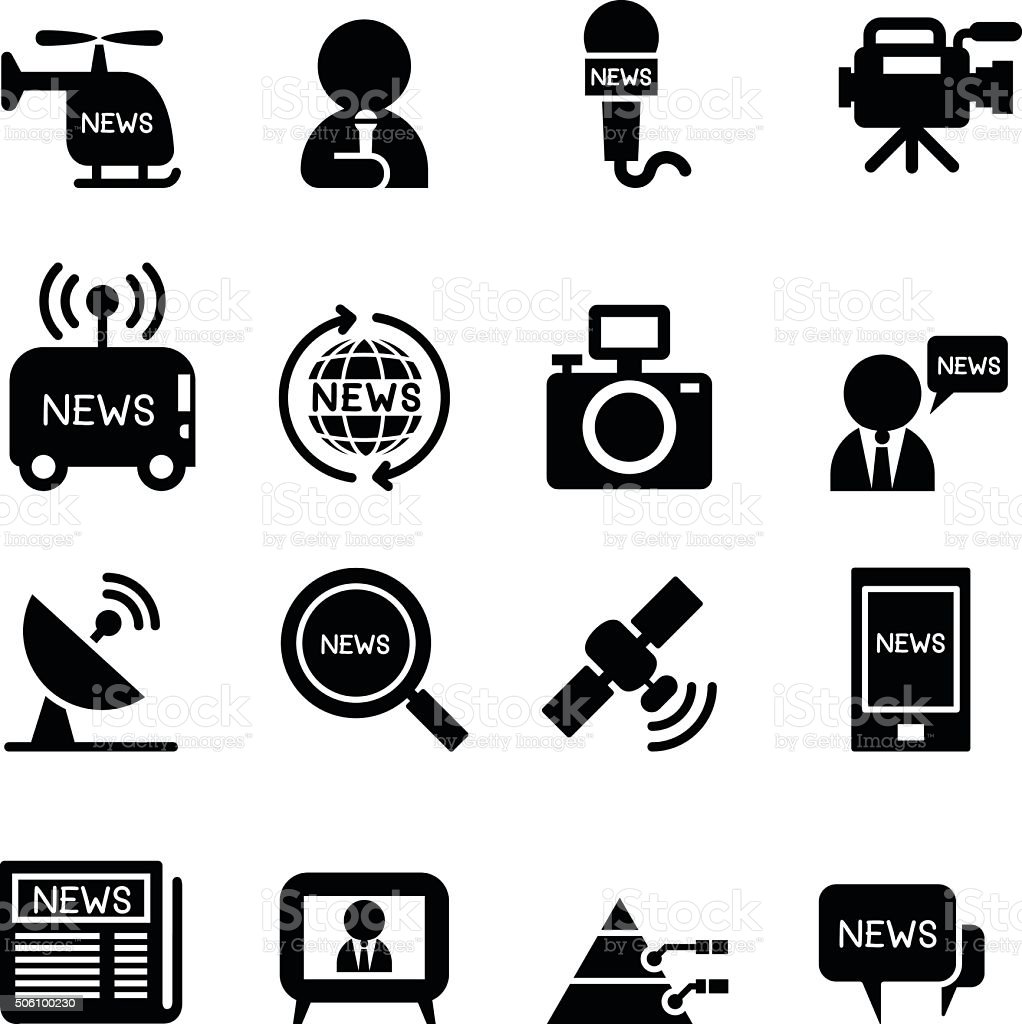 News reporter icons vector art illustration
