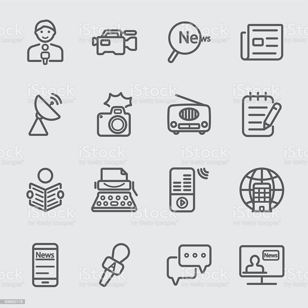 News reporter line icon vector art illustration