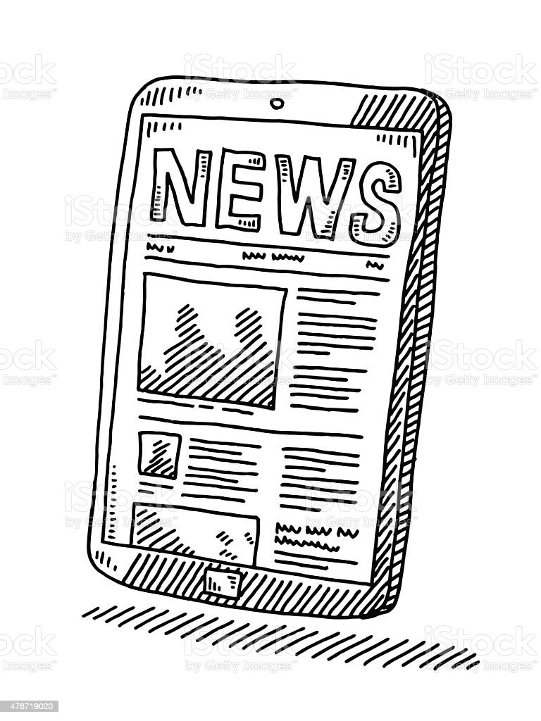 News Website On Smart Phone Drawing vector art illustration