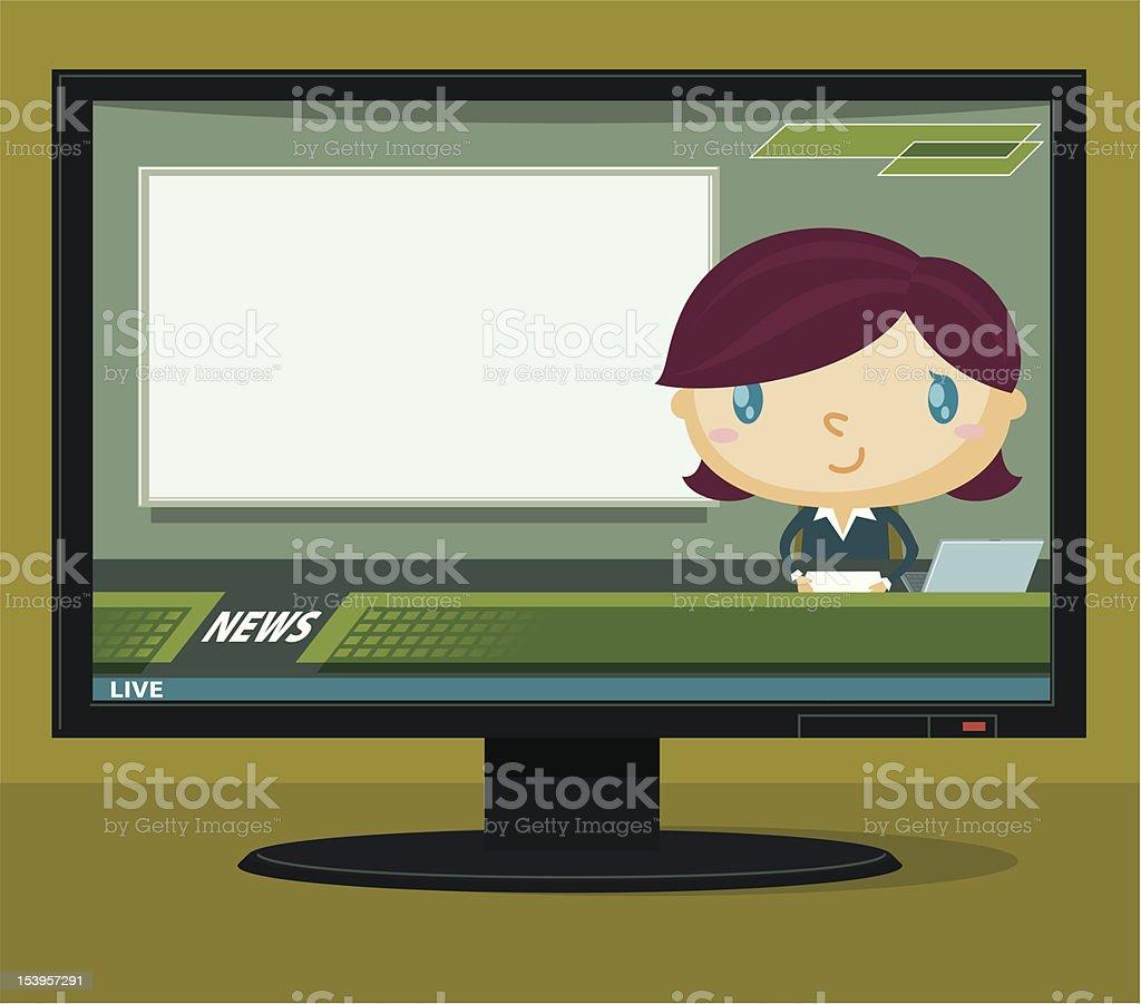 Newscaster vector art illustration
