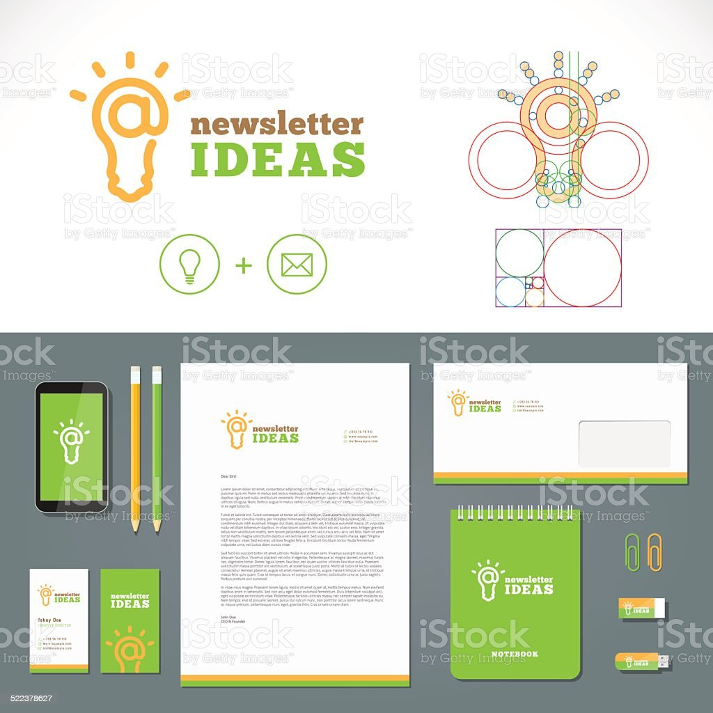 Newsletter Ideas Logo and Identity Template vector art illustration