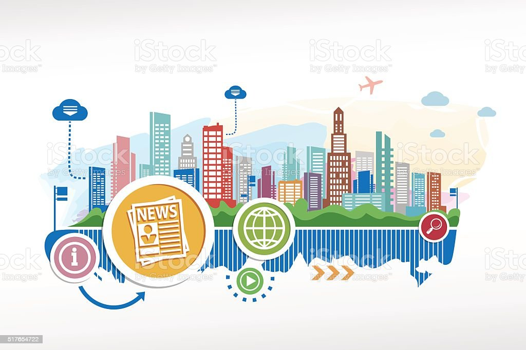 Newspaper and cityscape background with different icon and eleme vector art illustration