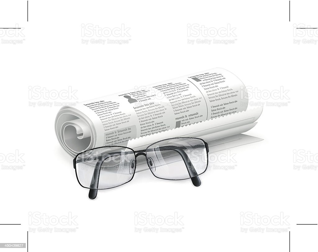Newspaper and glasses royalty-free stock vector art