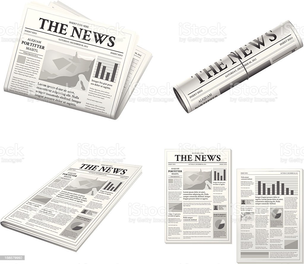 Newspaper Artwork Set royalty-free stock vector art