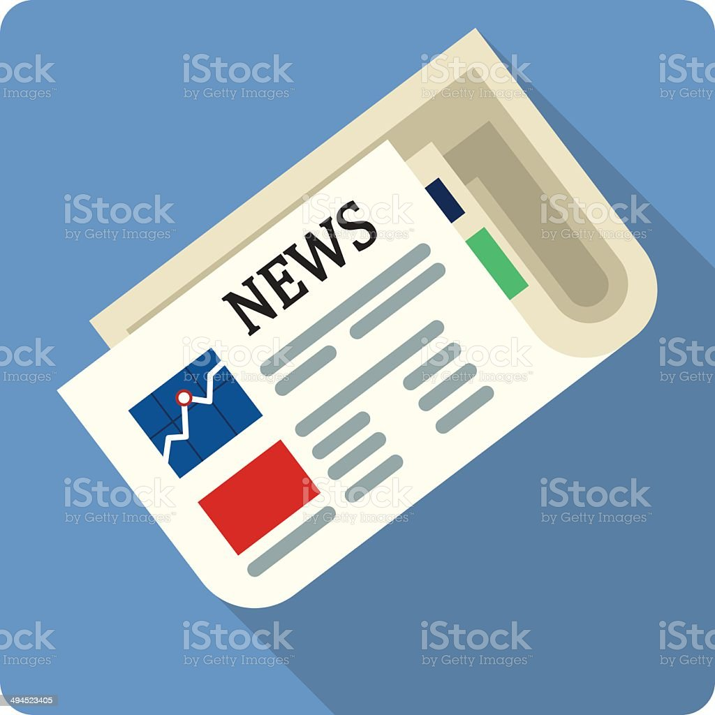 Newspaper Flat Illustration royalty-free stock vector art
