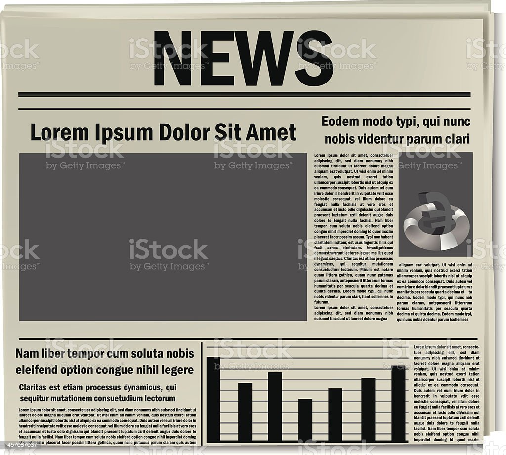 Newspaper icon, business news vector art illustration