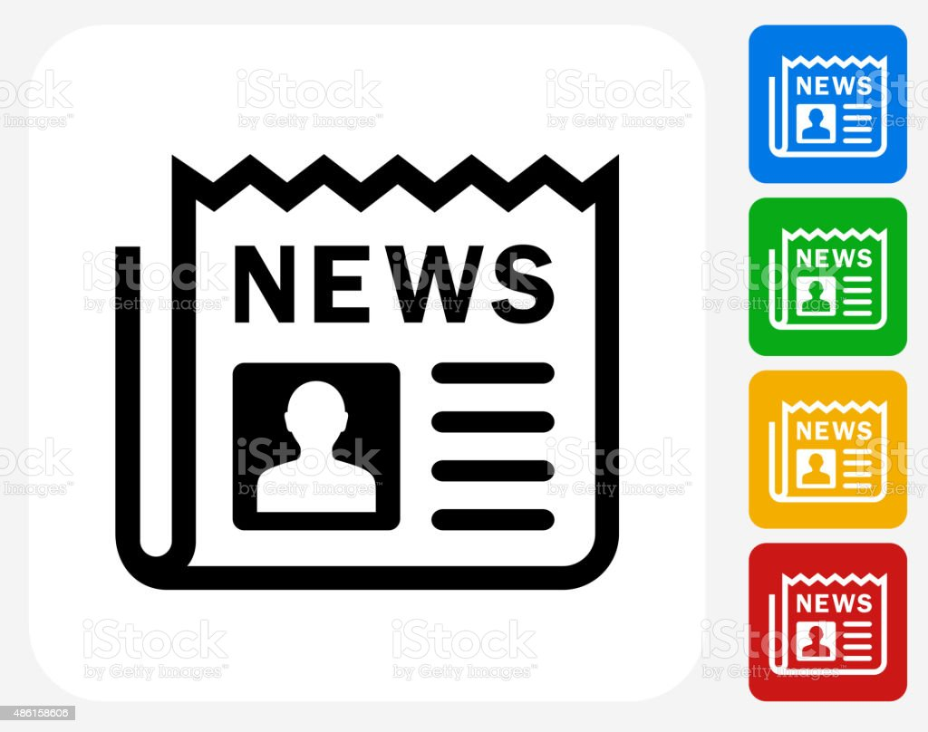 Newspaper Icon Flat Graphic Design vector art illustration