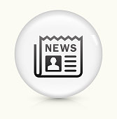Newspaper icon on white round vector button