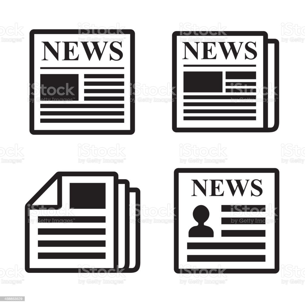 Newspaper icons set. vector art illustration