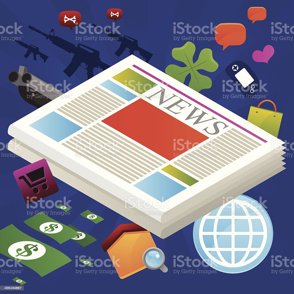 Newspaper isometric vector art illustration