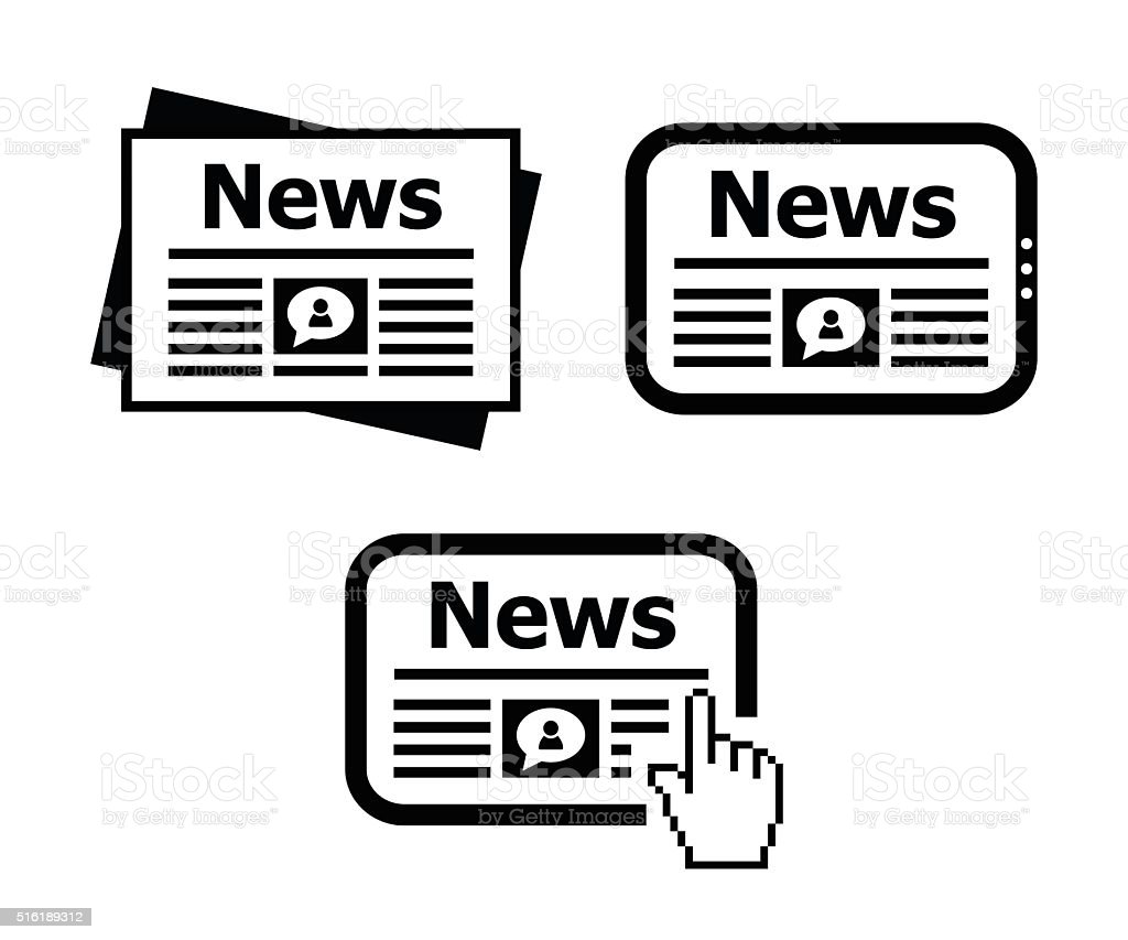 Newspaper, news on tablet icons set vector art illustration