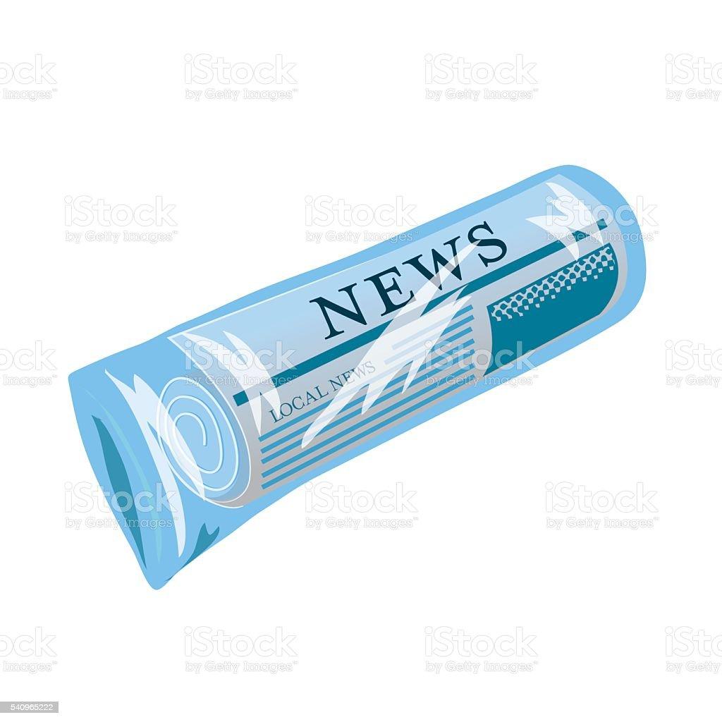 Newspaper Rolled Up Inside a Blue Plastic Bag vector art illustration
