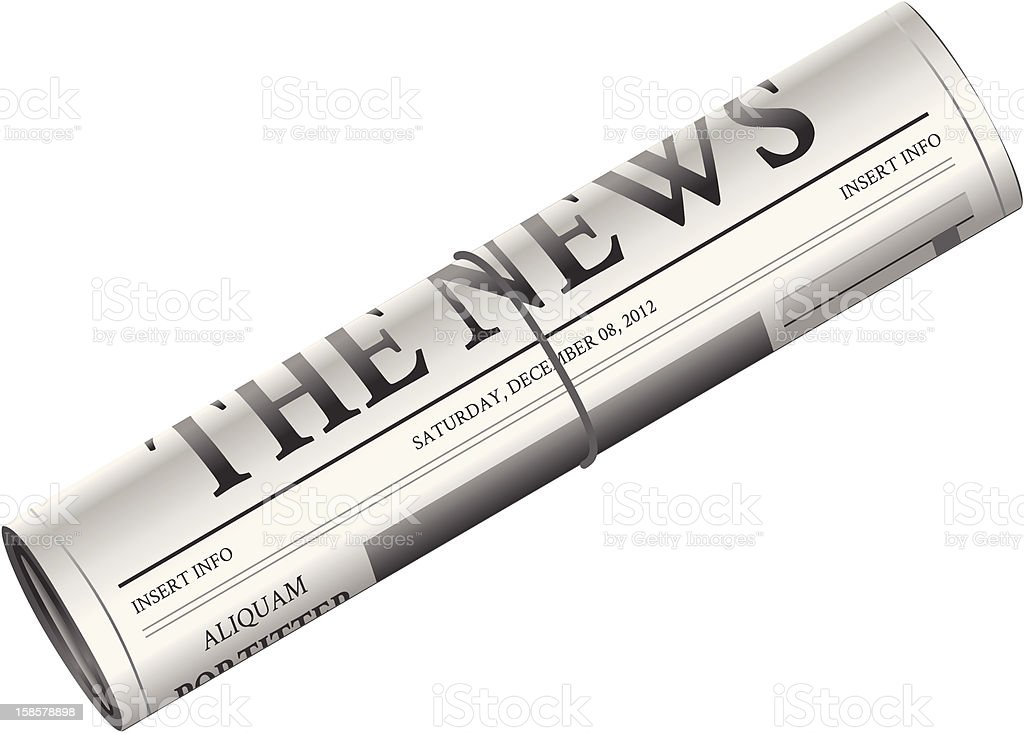 Newspaper - Rolled up royalty-free stock vector art