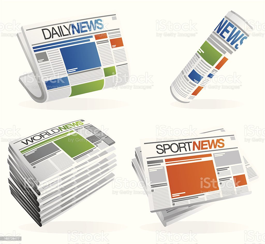 Newspaper set - grey royalty-free stock vector art