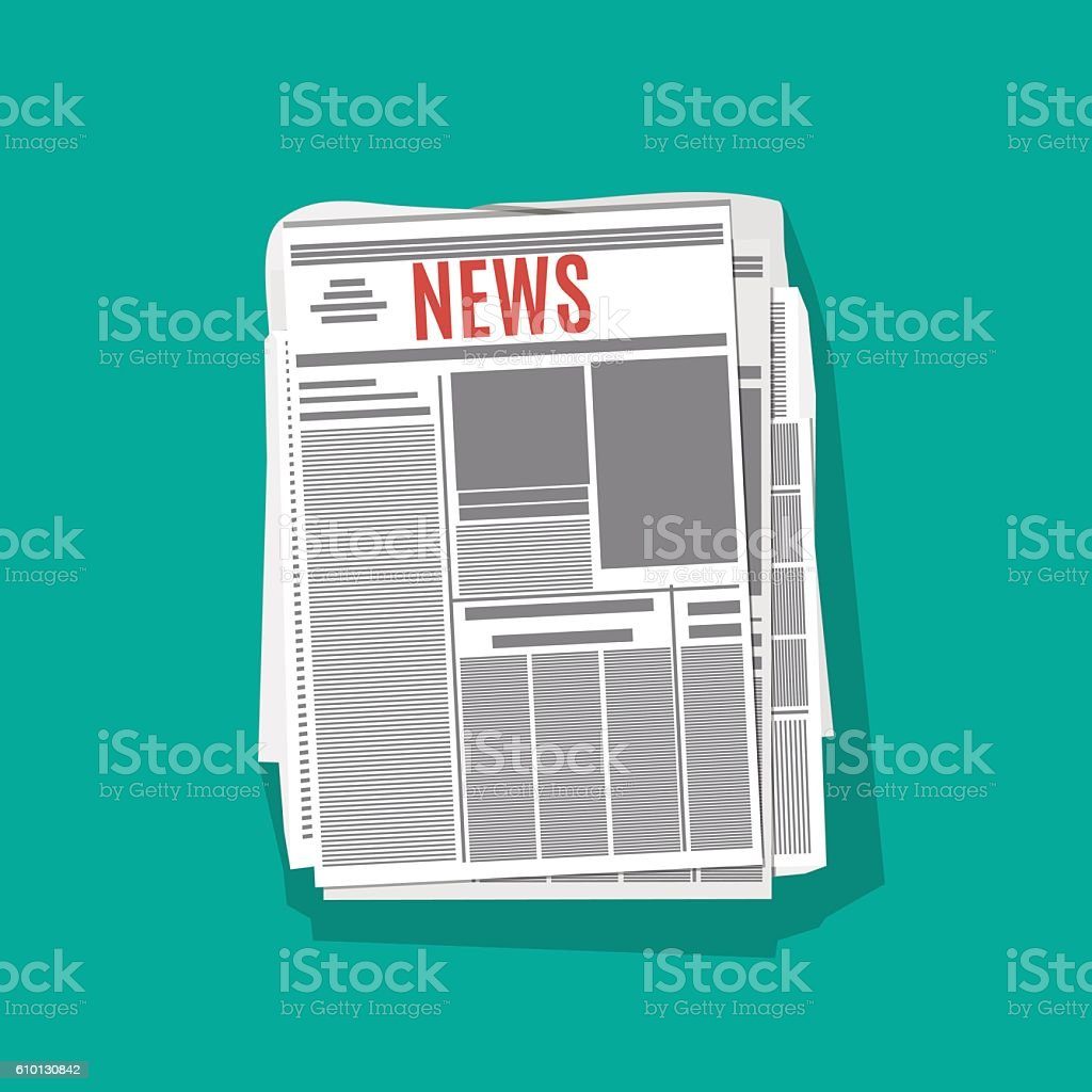 newspaper stack icon with shadow in flat design vector art illustration