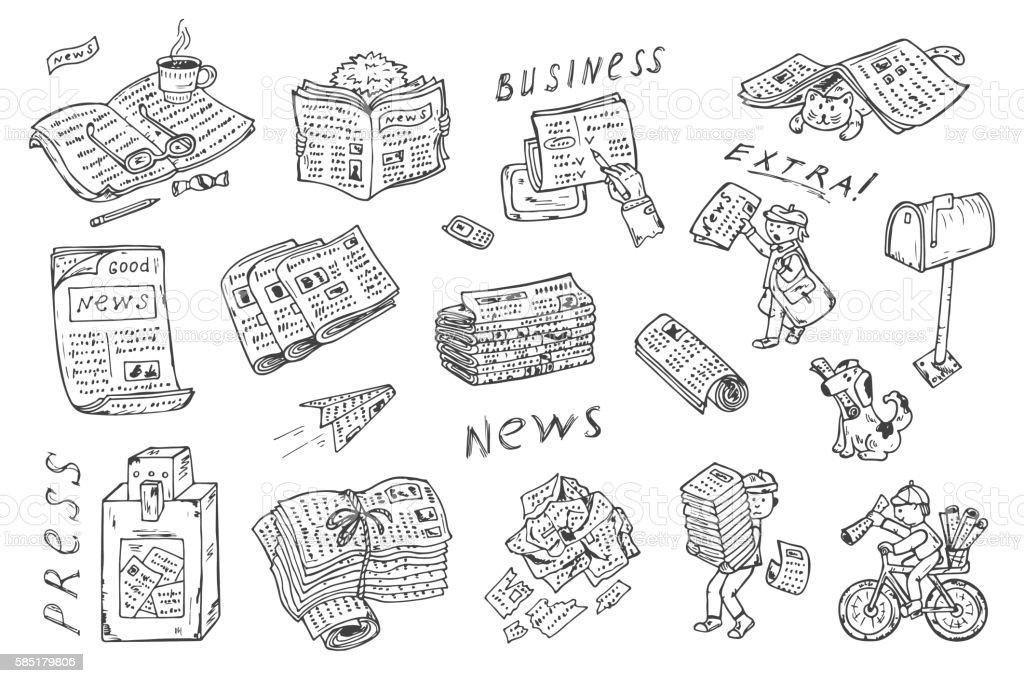 Newspaper vector set: newspapers, postman, paperboys, newspaper vending machine, mailbox vector art illustration
