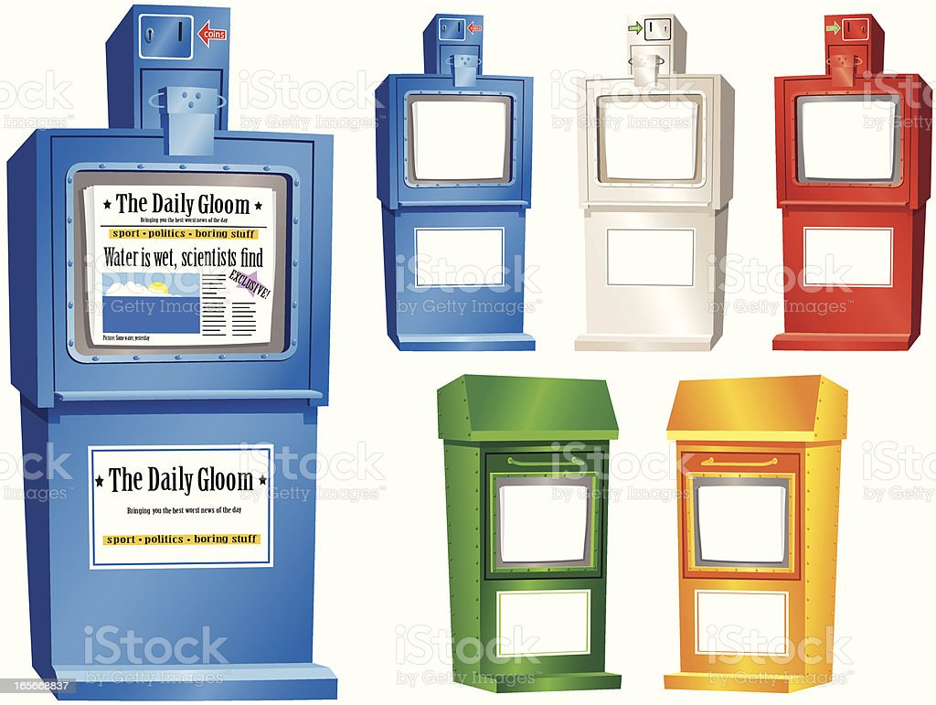 Newspaper vending stands royalty-free stock vector art