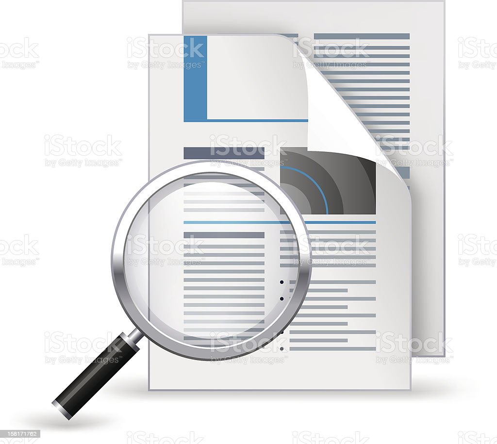 Newspaper with magnifying glass vector art illustration