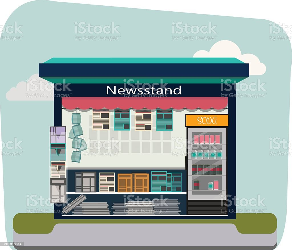 Newsstand selling newspapers and magazines.Press kiosk. Vector illustration. vector art illustration