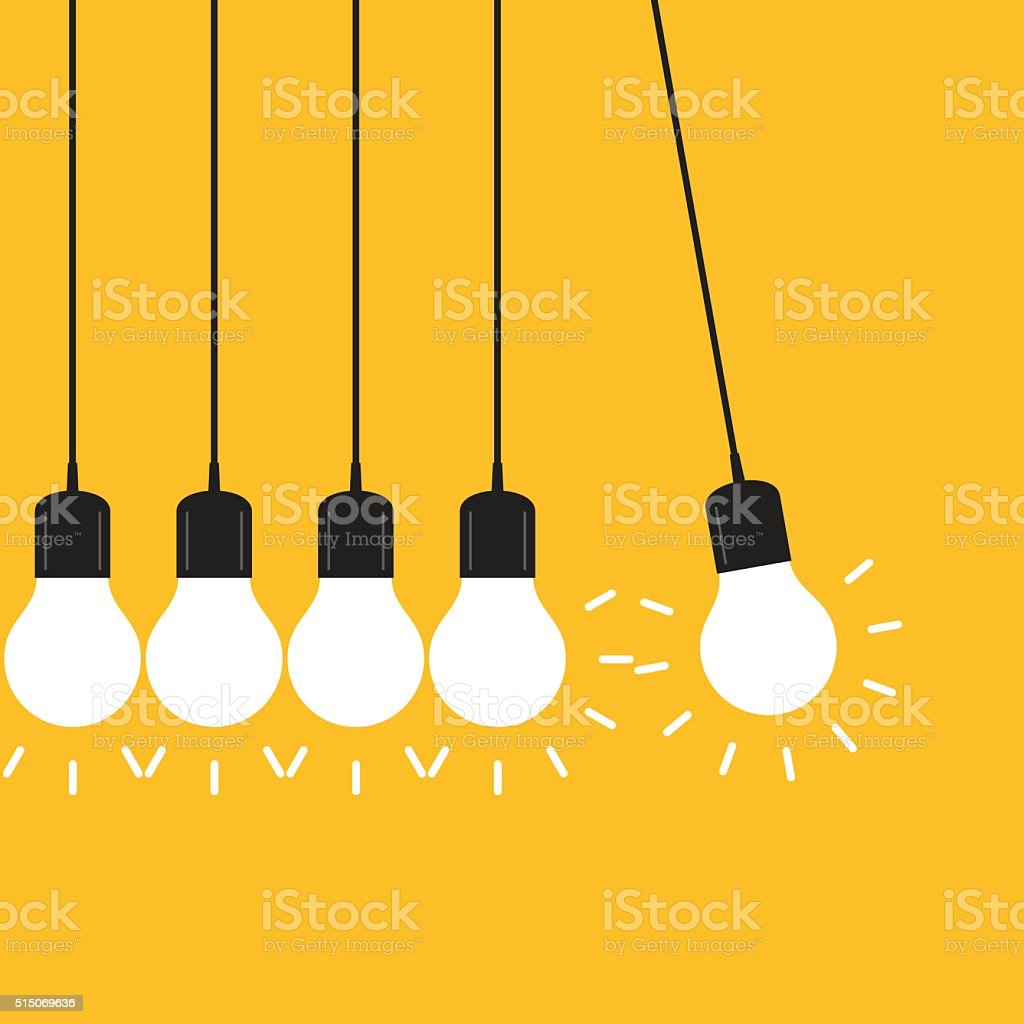 Newton's cradle concept on yellow background vector art illustration